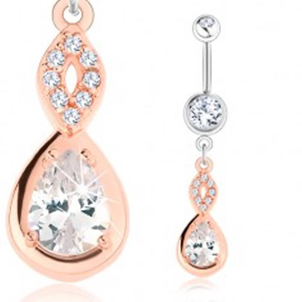 Šperky eshop Piercing z ocele 316L, strieborná a medená farba, obrys zrnka, slza, číre zirkóny