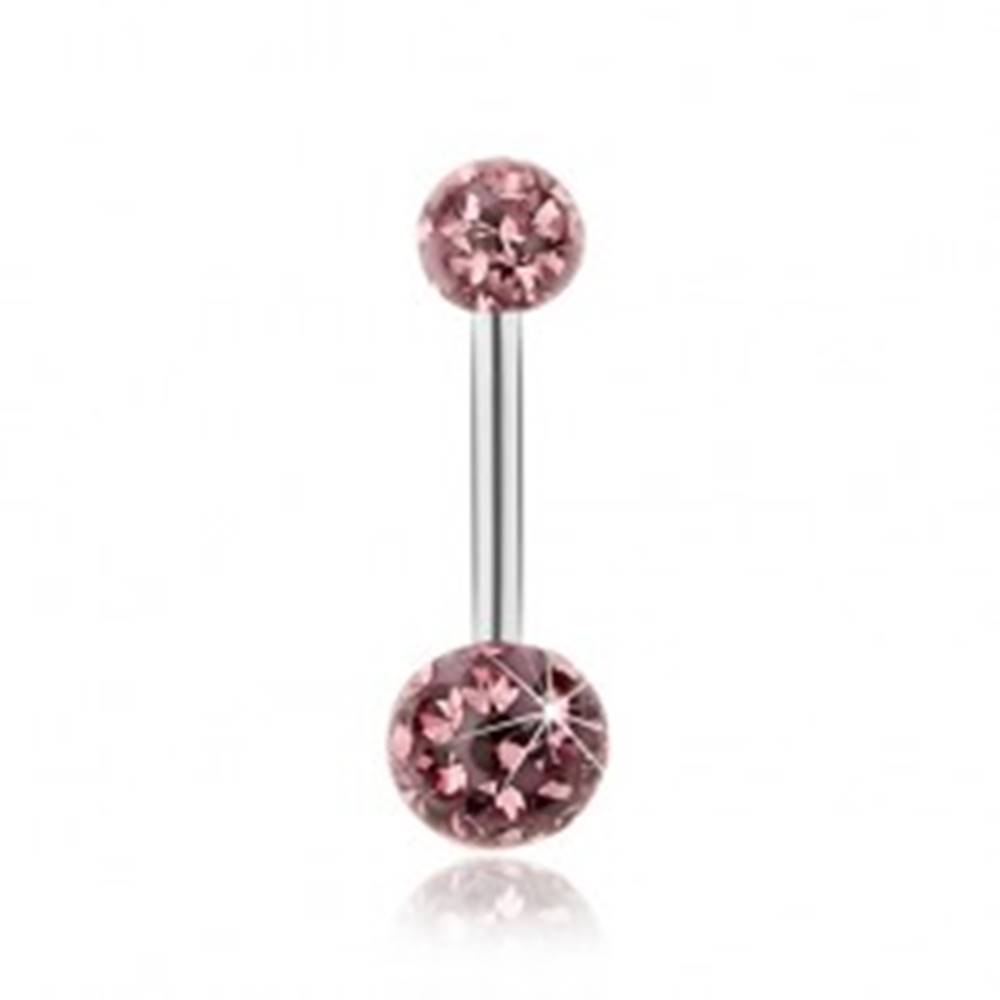 Šperky eshop Piercing z ocele 316L, svetlofialové trblietavé zirkóny, priehľadná glazúra
