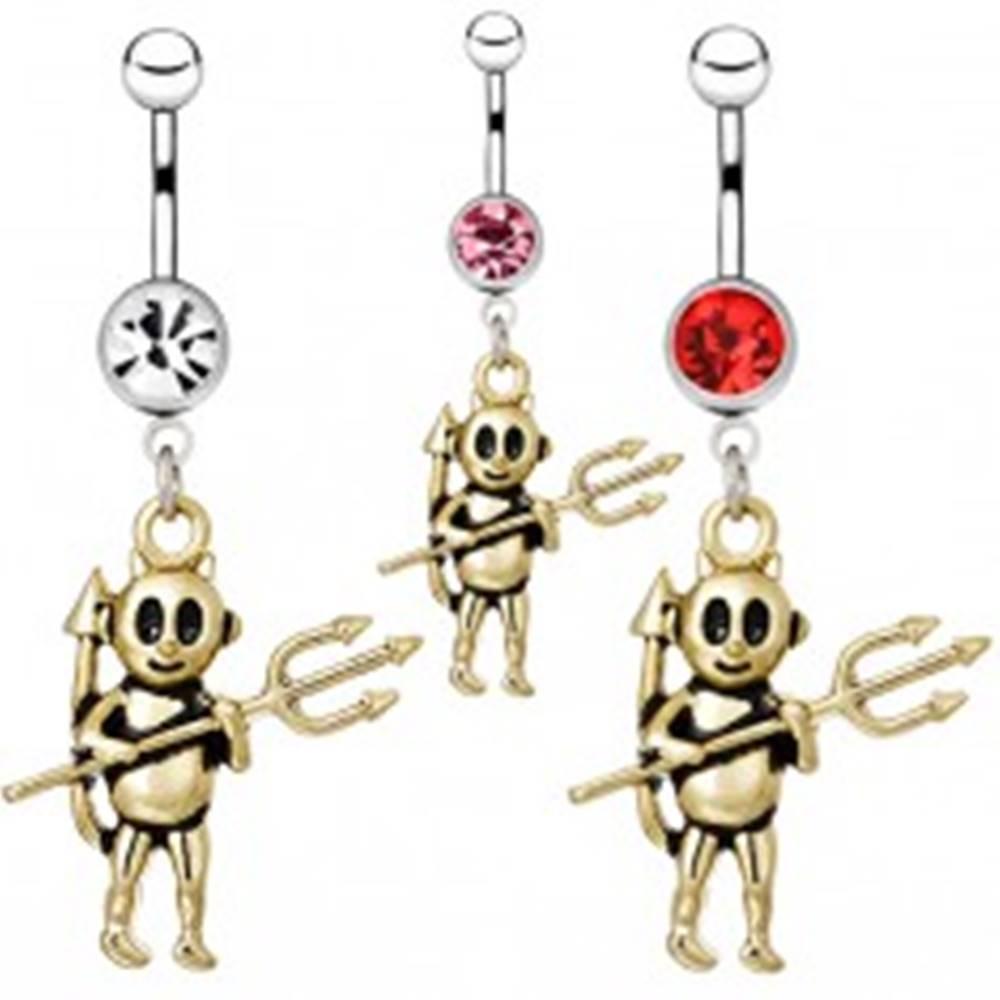 Šperky eshop Piercing z ocele do pupka - čertík s vidlami - Farba zirkónu: Červená - R
