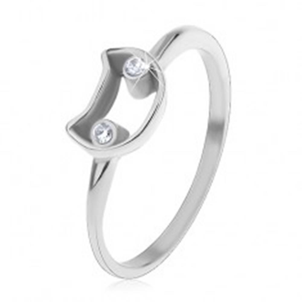 Šperky eshop Prsteň pre deti, oceľ 316L, úzke ramená, kontúra mačky s čírymi očami - Veľkosť: 45 mm