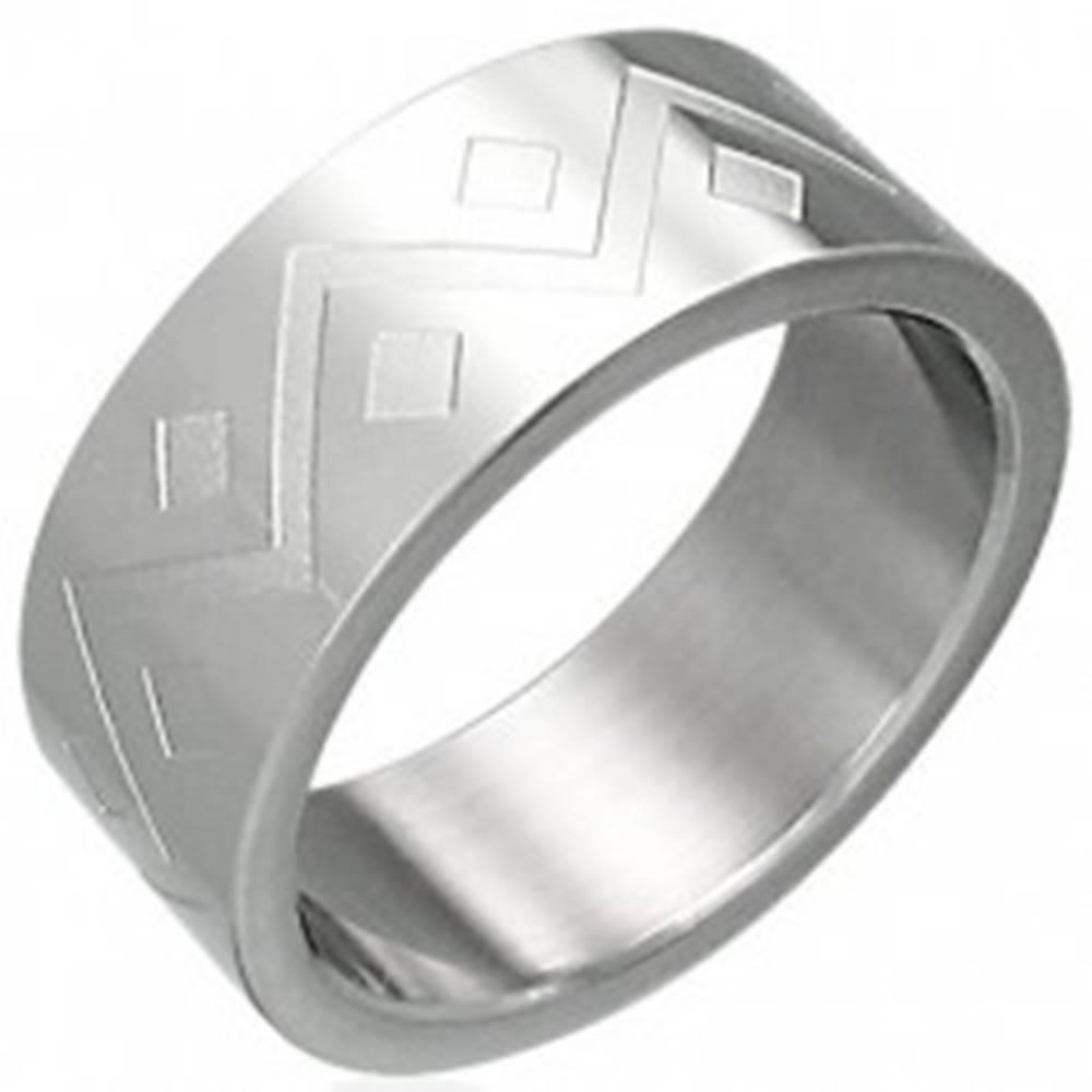 Šperky eshop Prsteň z chirurgickej ocele geometrický vzor - Veľkosť: 54 mm