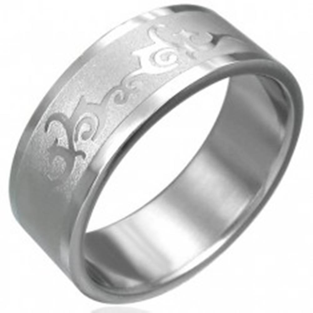 Šperky eshop Prsteň z chirurgickej ocele s ornamentom - Veľkosť: 54 mm