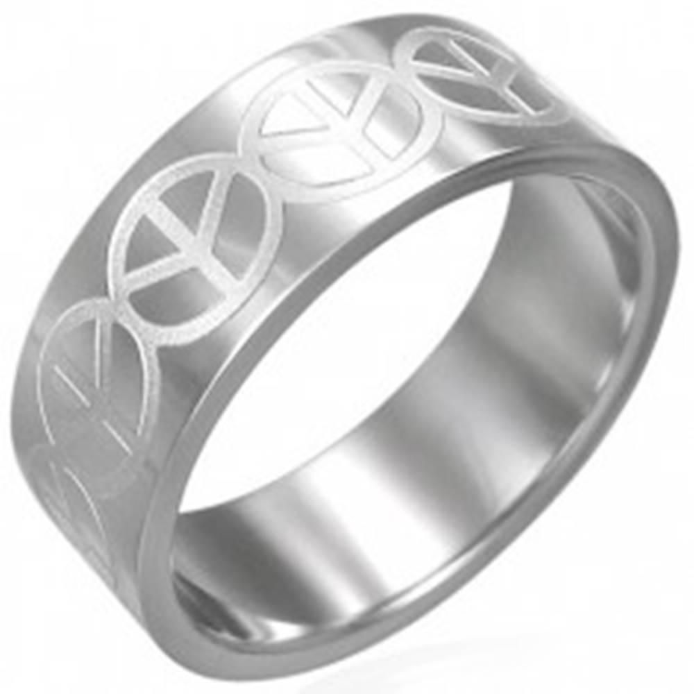 Šperky eshop Prsteň z chirurgickej ocele - so znakom Peace - Veľkosť: 51 mm
