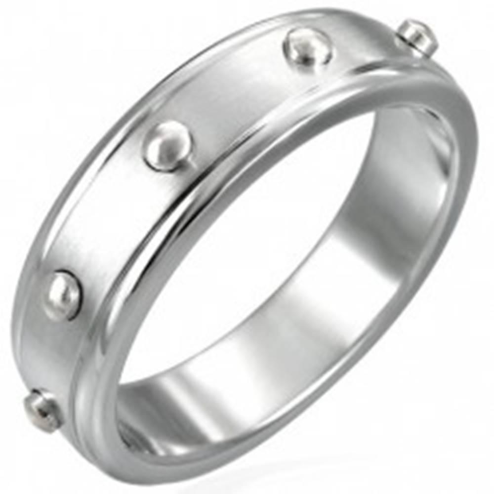 Šperky eshop Prsteň z chirurgickej ocele - vypuklé valčeky - Veľkosť: 51 mm
