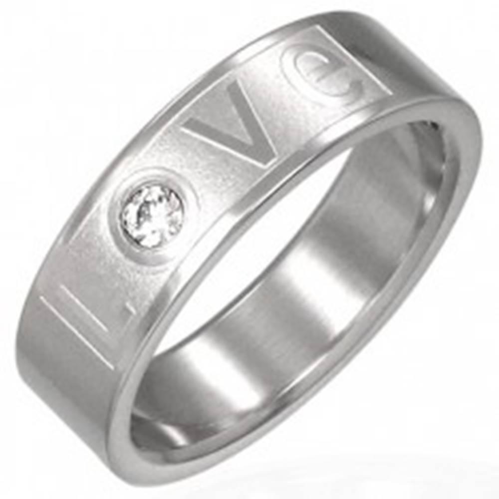 Šperky eshop Prsteň z ocele - LOVE so zirkónom - Veľkosť: 51 mm