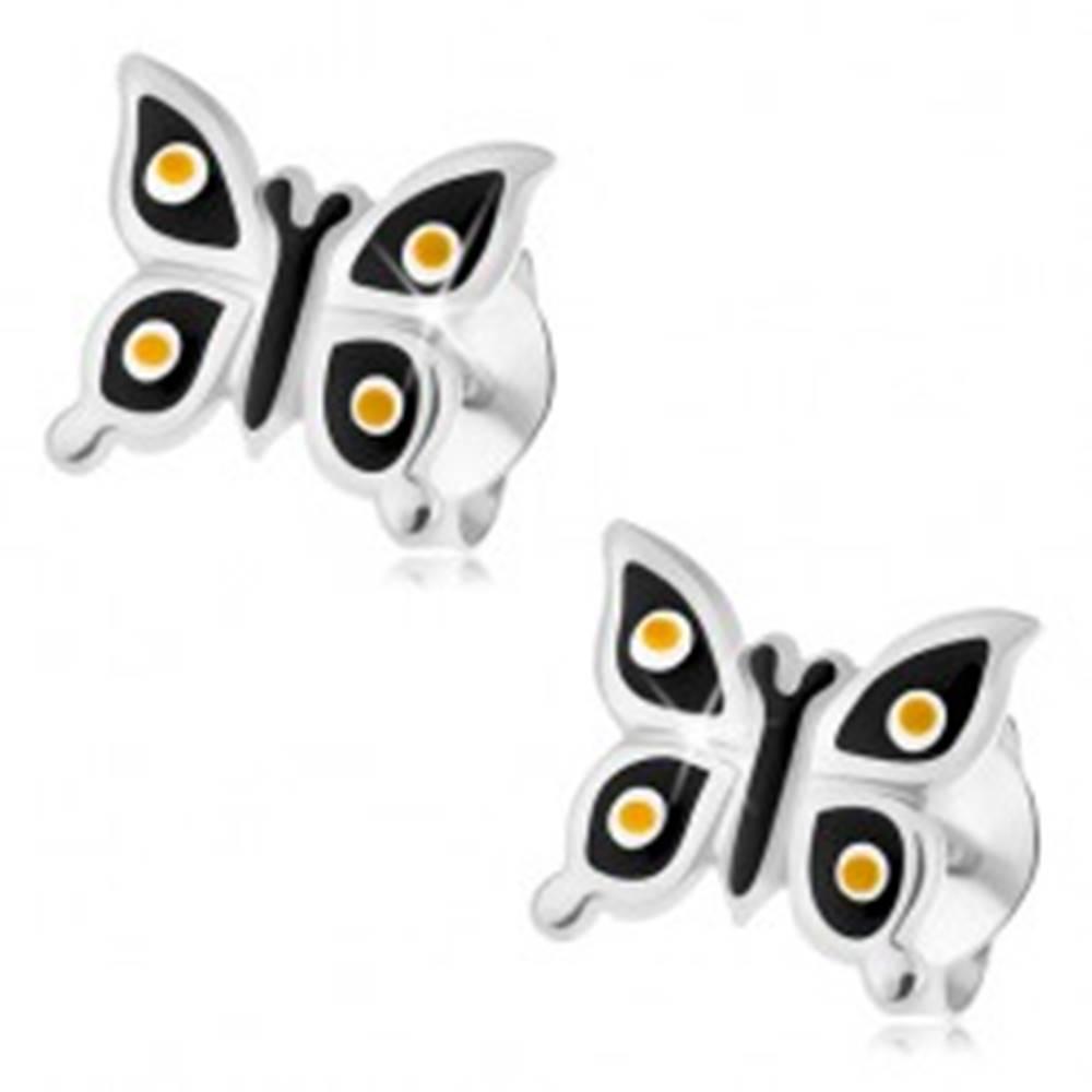 Šperky eshop Puzetové náušnice, striebro 925, lesklý čierny motýlik, žlté a biele bodky