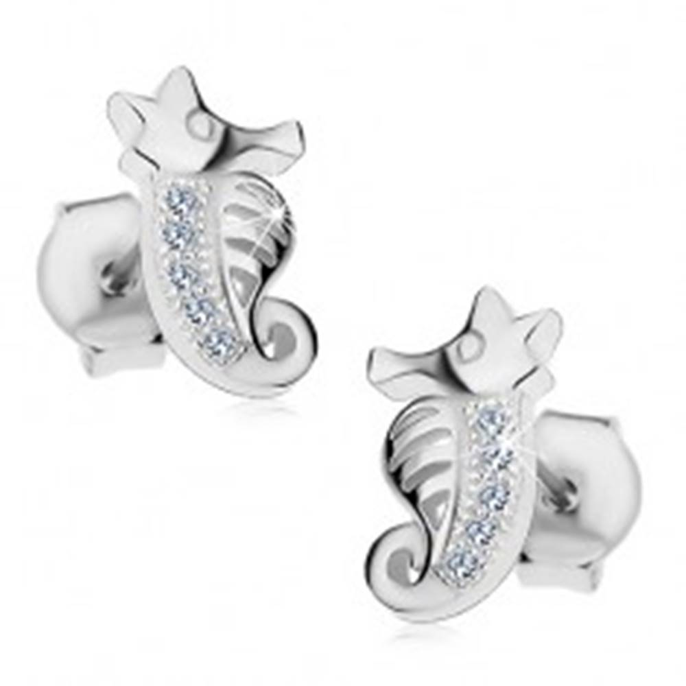 Šperky eshop Puzetové náušnice - striebro 925, malý morský koník zdobený zirkónmi a výrezmi