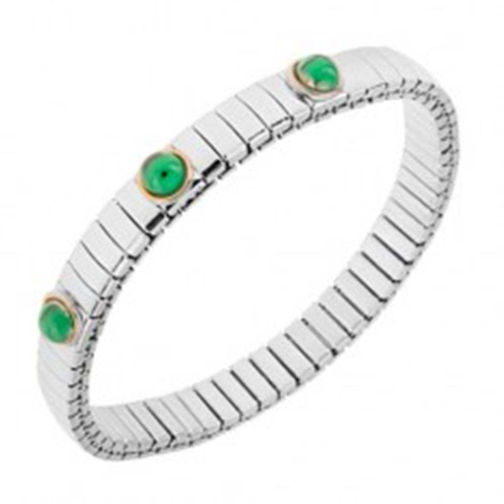 Šperky eshop Rozťahovací náramok z ocele striebornej farby, smaragdovo zelené guličky