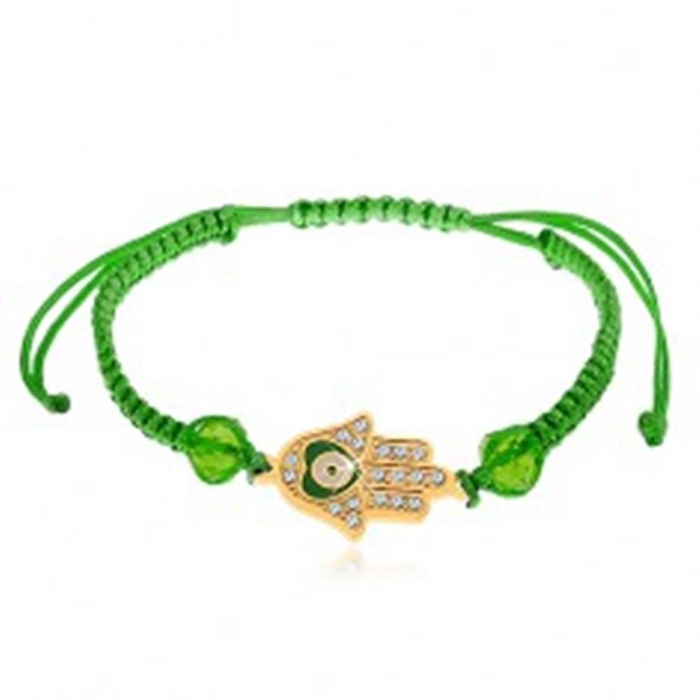 Šperky eshop Šnúrkový náramok zelenej farby, Fatimina ruka, číre zirkóny, korálky