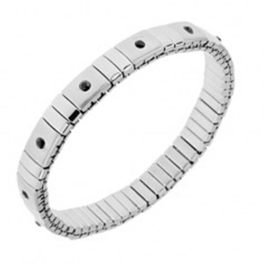 Šperky eshop Strečový náramok z ocele striebornej farby, lesklé a matné články, čierne zirkóny