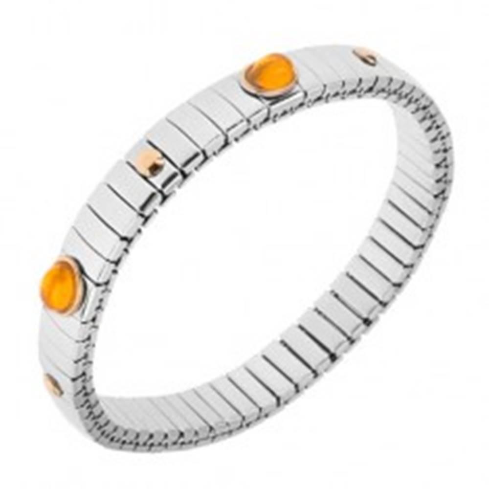 Šperky eshop Strečový oceľový náramok, lesklé články striebornej farby, ovály, guličky