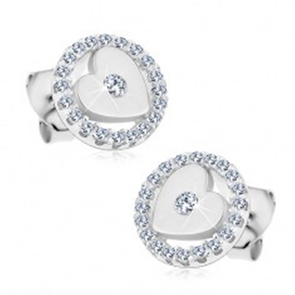 Šperky eshop Strieborné 925 náušnice, lesklé srdiečko so zirkónom v trblietavej obruči, puzetky