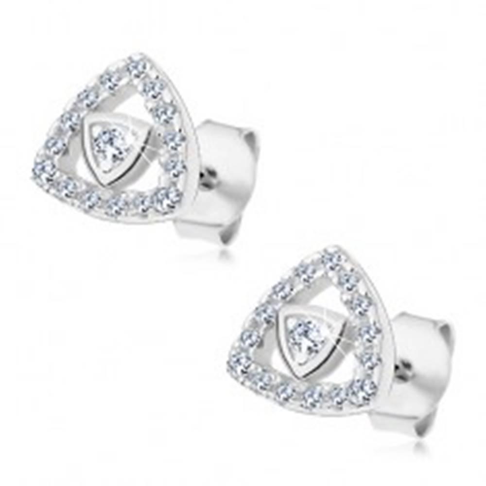 Šperky eshop Strieborné 925 náušnice, obrys trojuholníka vykladaný zirkónikmi čírej farby