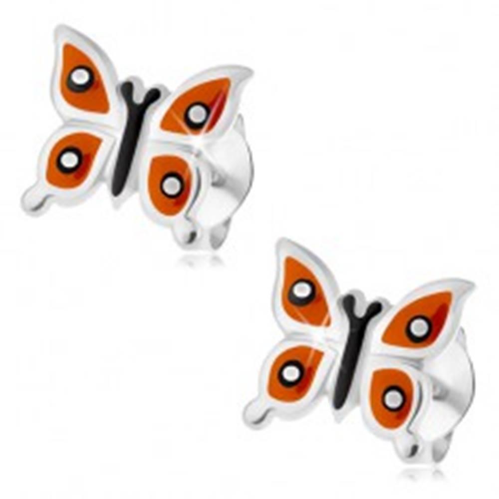Šperky eshop Strieborné náušnice 925, lesklý motýlik - oranžové krídla, čierne a biele bodky