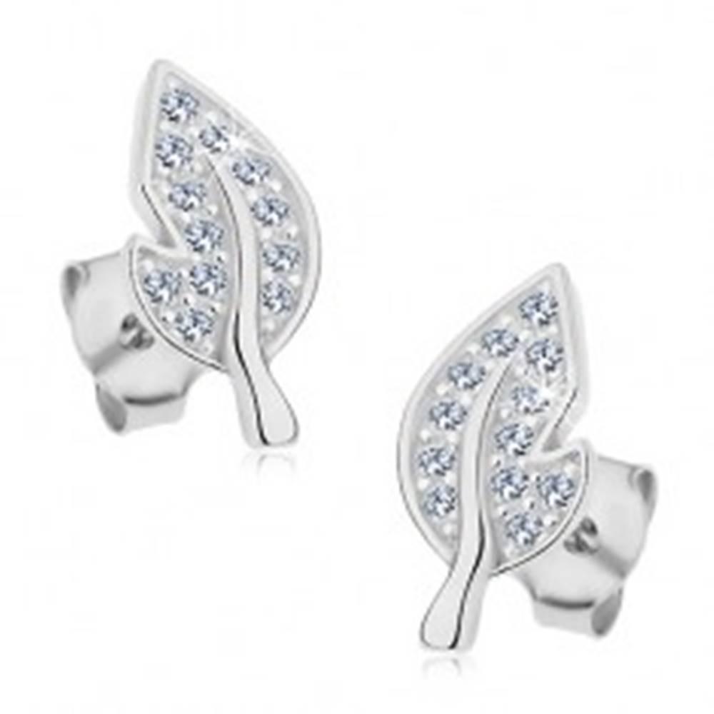 Šperky eshop Strieborné náušnice 925, list so žiarivými čírymi zirkónmi a výrezom na boku