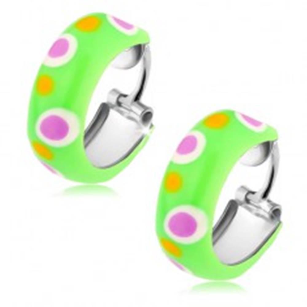 Šperky eshop Strieborné náušnice 925, malé obruče, svetlozelená glazúra, farebné bodky