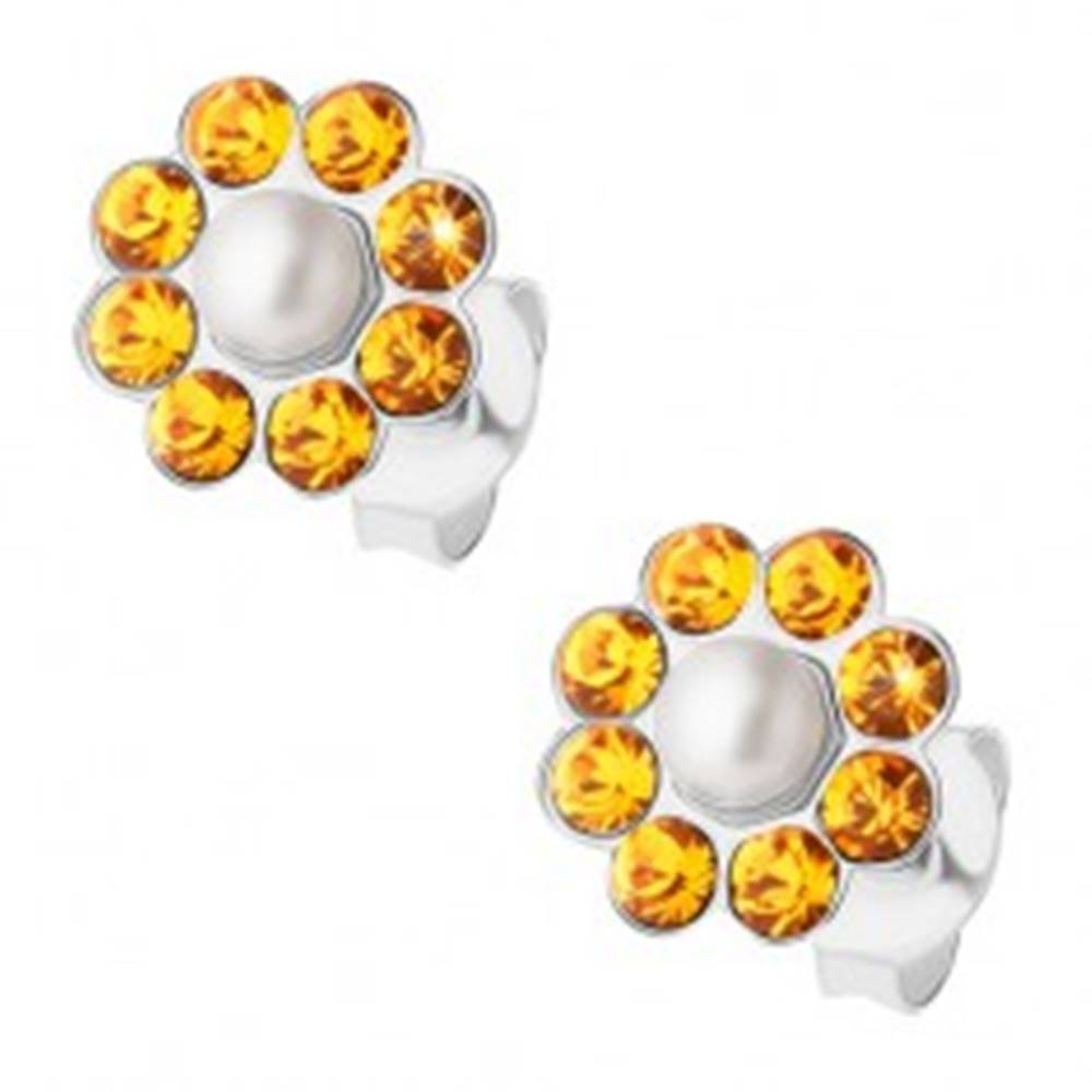 Šperky eshop Strieborné náušnice 925, oranžový kvietok s bielou perličkou v strede, puzetky