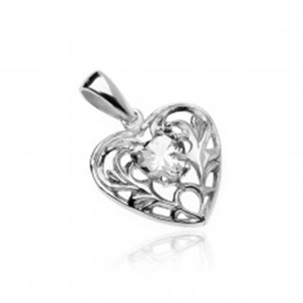 Šperky eshop Strieborný 925 prívesok - srdce s čírym zirkónovým srdiečkom a ornamentami
