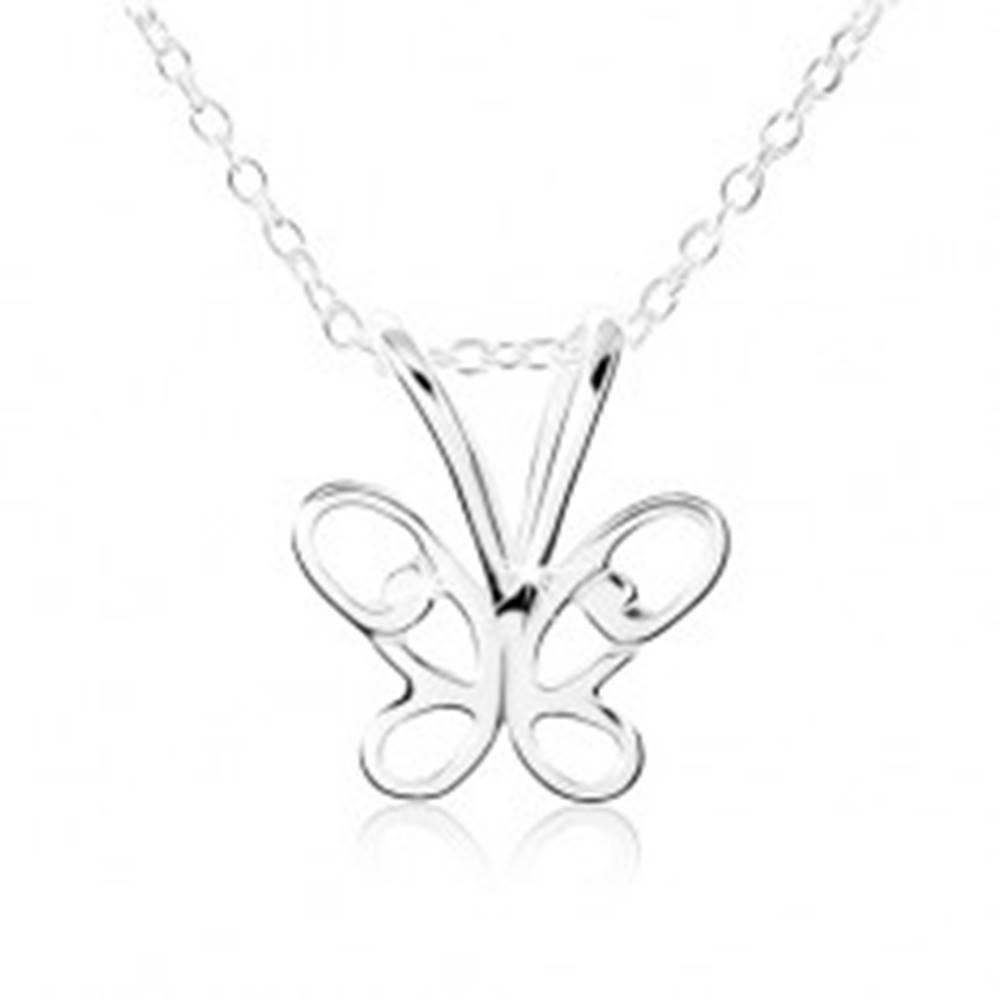 Šperky eshop Strieborný náhrdelník 925, motýlik s vyrezávanými krídlami