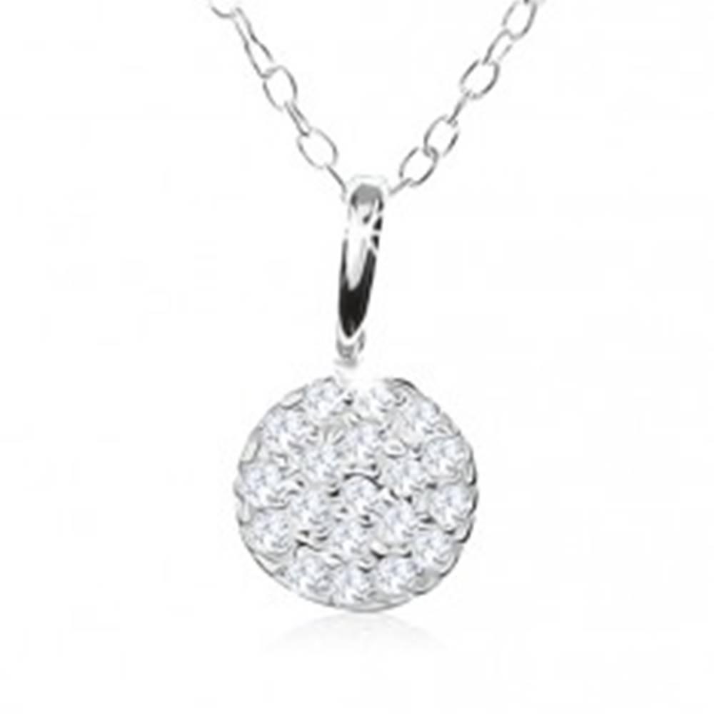 Šperky eshop Strieborný náhrdelník 925, trblietavý kruh vykladaný čírymi zirkónikmi
