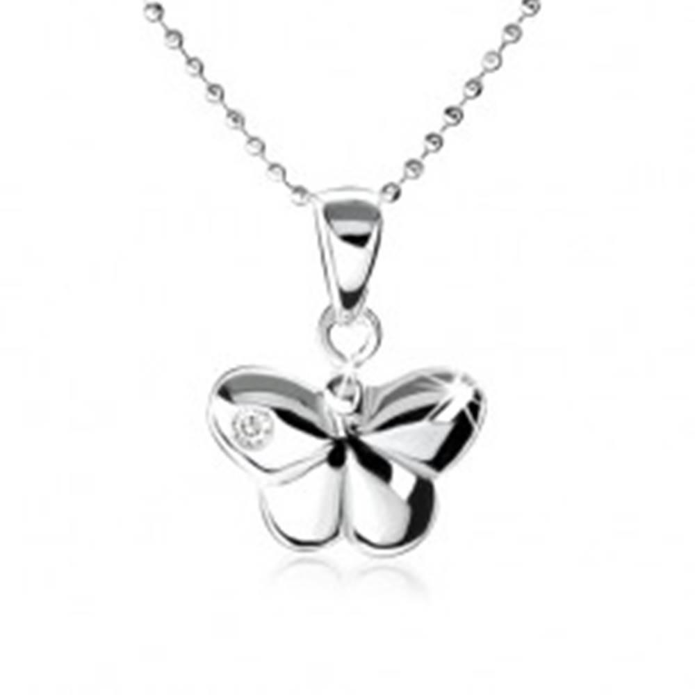 Šperky eshop Strieborný náhrdelník 925, vypuklý motýlik s ozdobným zirkónom