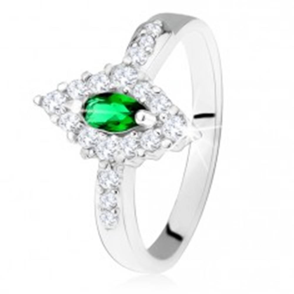 Šperky eshop Strieborný prsteň 925, kosoštvorec s tmavozeleným očkom a čírym lemom - Veľkosť: 49 mm