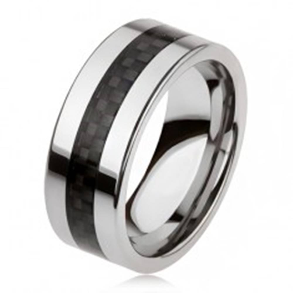 Šperky eshop Tungstenová obrúčka striebornej farby s čiernym stredovým pásom, mriežka - Veľkosť: 49 mm