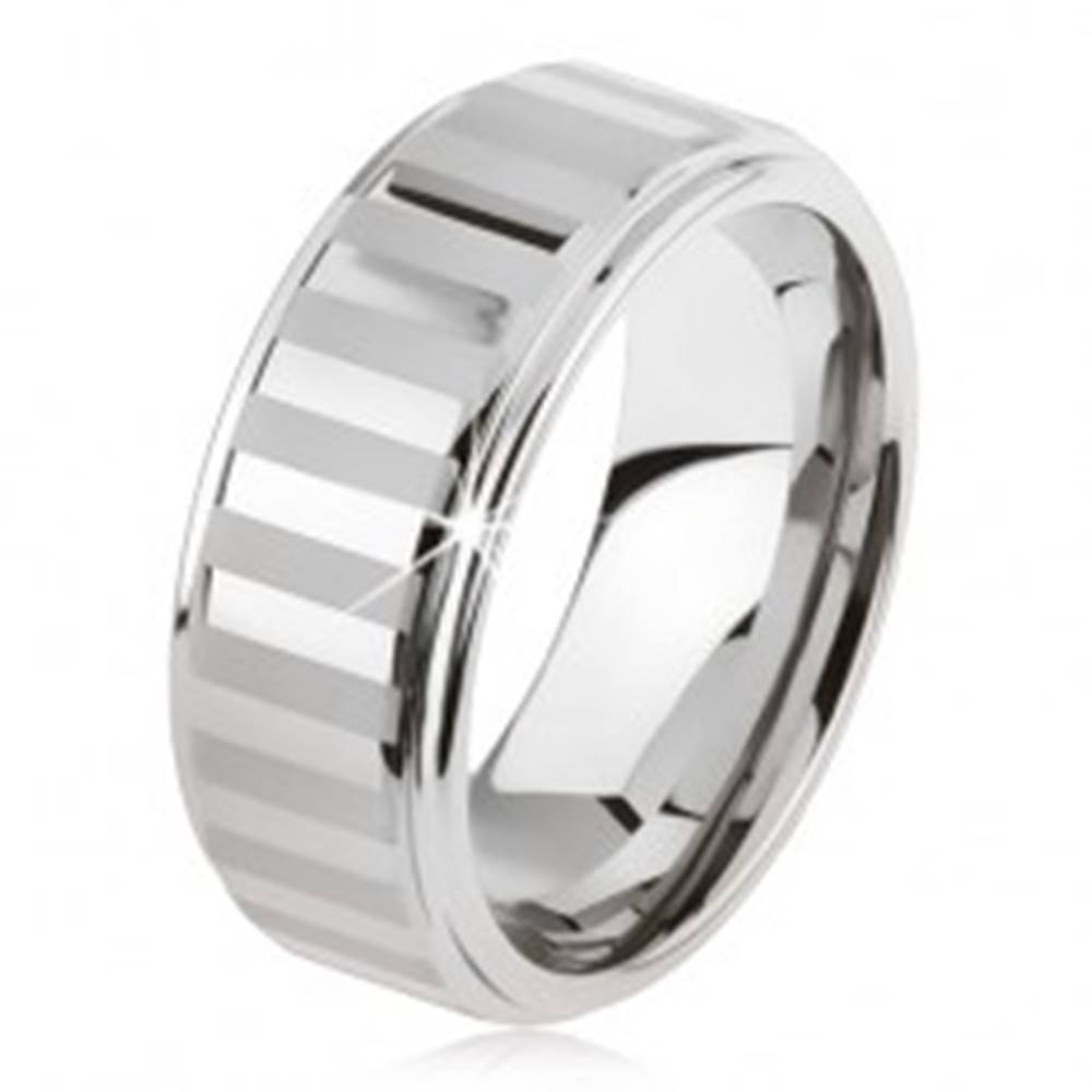 Šperky eshop Tungstenový prsteň striebornej farby, lesklé a matné pásiky - Veľkosť: 49 mm
