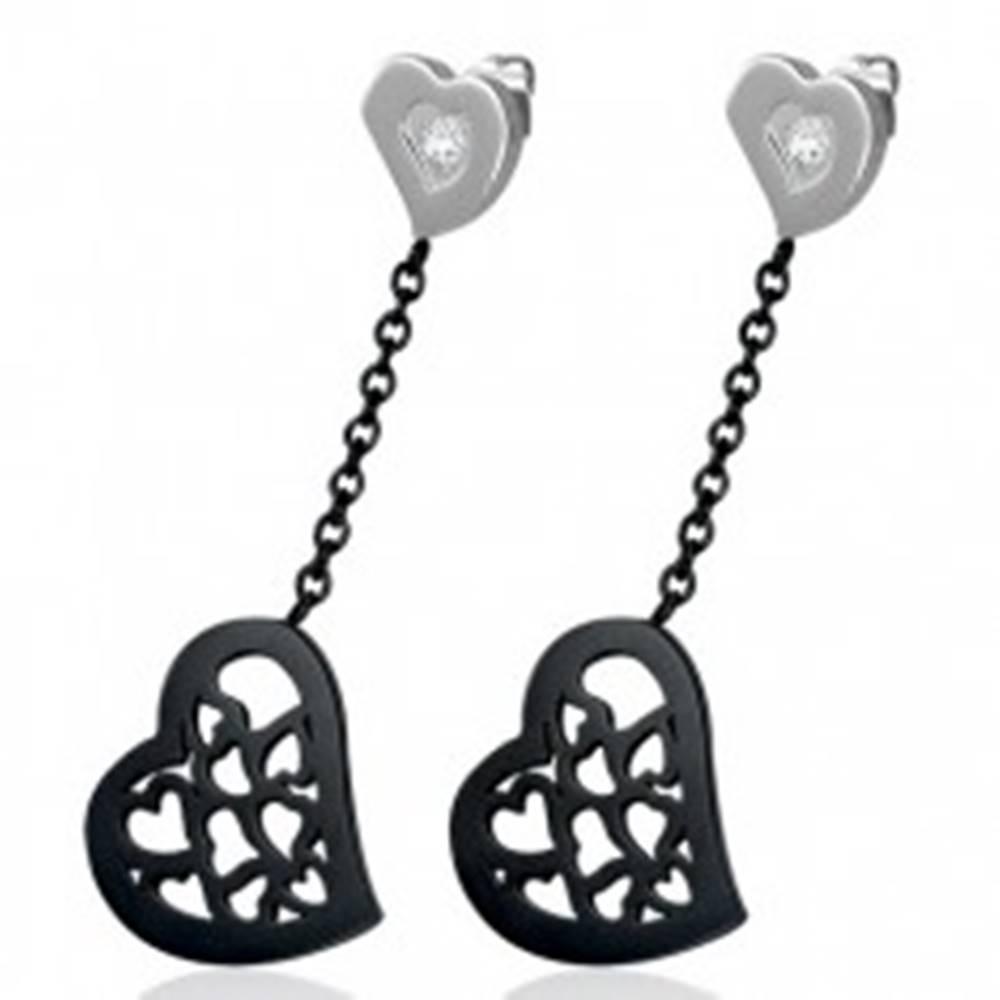 Šperky eshop Visiace srdiečkové náušnice z chirurgickej ocele so zirkónom, dvojfarebné