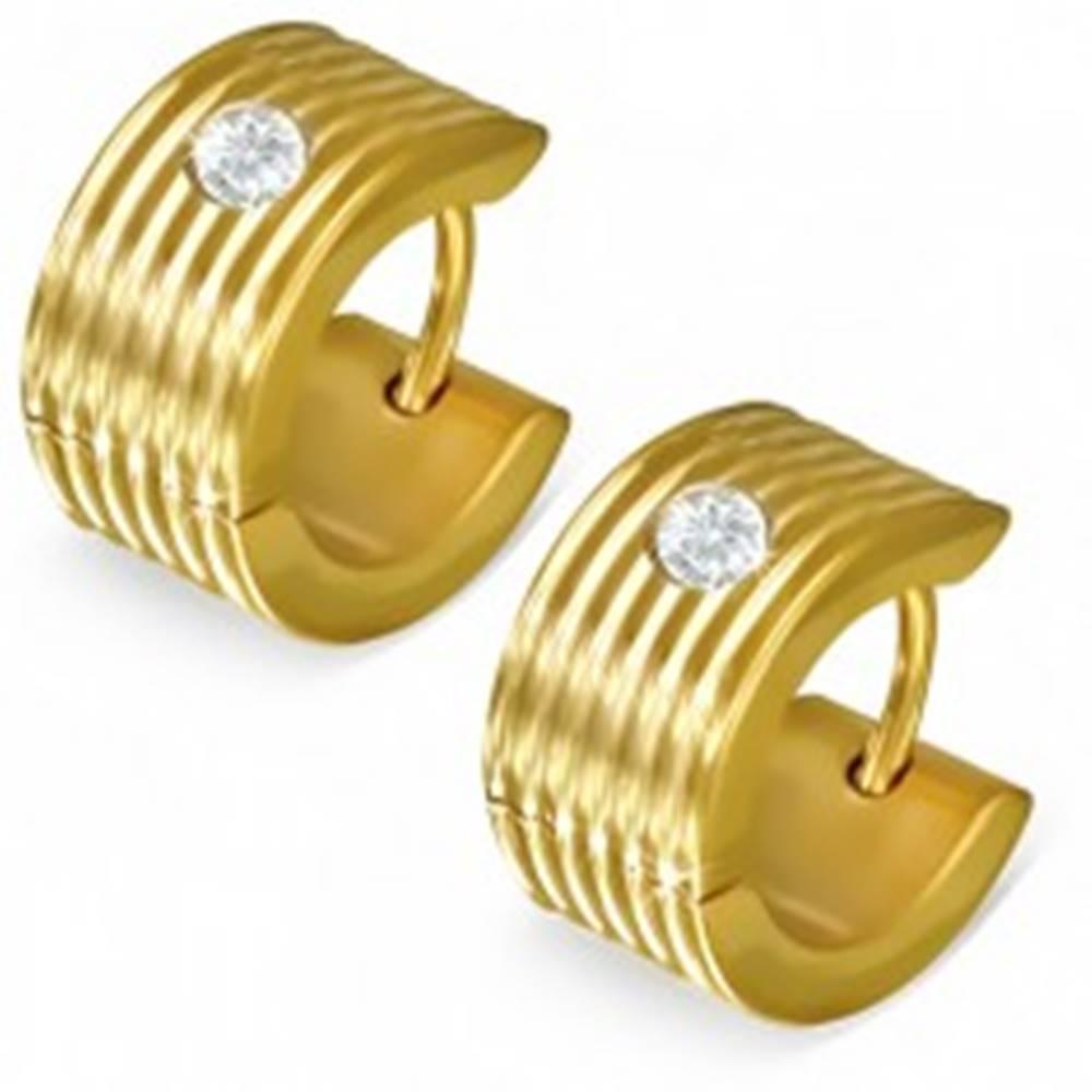 Šperky eshop Vrúbkované kruhové náušnice so zirkónom v zlatej farbe