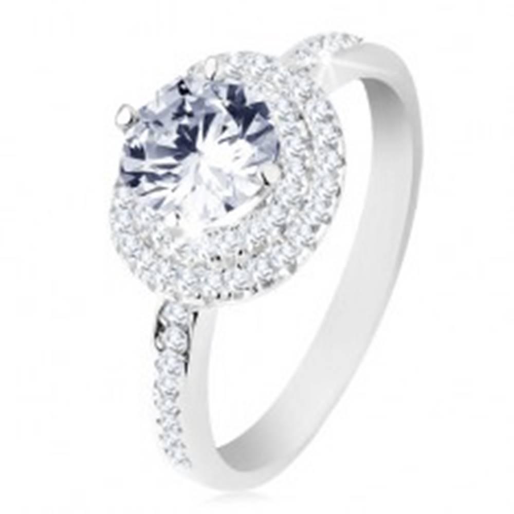 Šperky eshop Zásnubný prsteň, striebro 925, dvojitý lem, okrúhly číry zirkón - Veľkosť: 50 mm