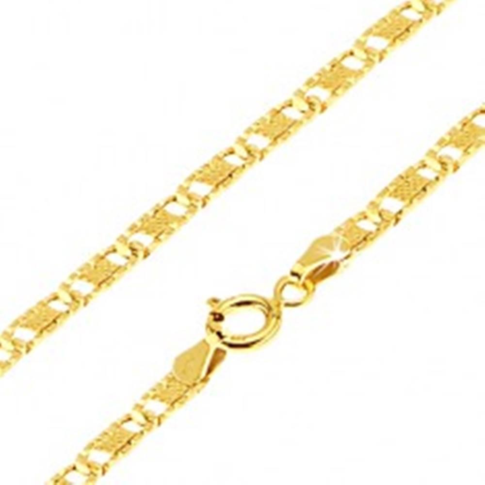 Šperky eshop Zlatá retiazka 585 - ploché podlhovasté ryhované články, mriežka, 500 mm