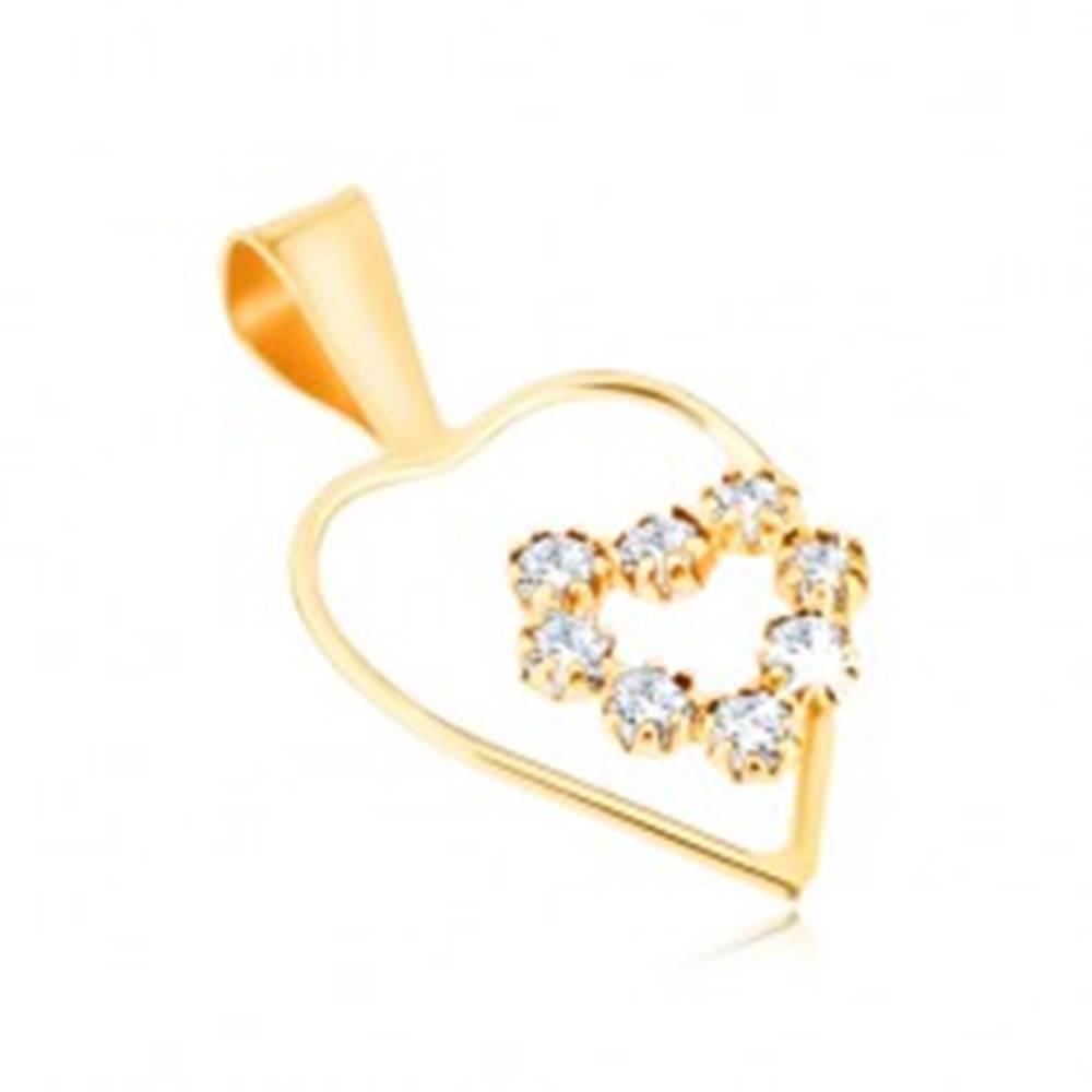 Šperky eshop Zlatý prívesok 375 - tenká línia kontúry pravidelného srdca, zirkónové srdce