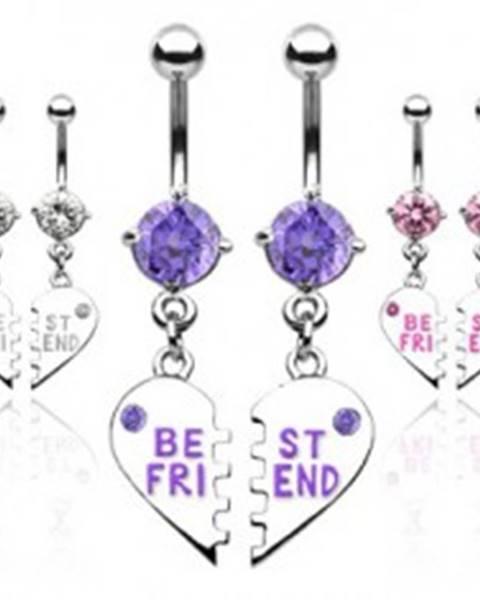 Šperky eshop Dvojitý piercing do pupku zlomené srdce BEST FRIEND - Farba piercing: Číra