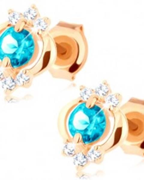 Šperky eshop Náušnice v žltom 14K zlate - okrúhly modrý topás, lesklý elipsovitý obrys