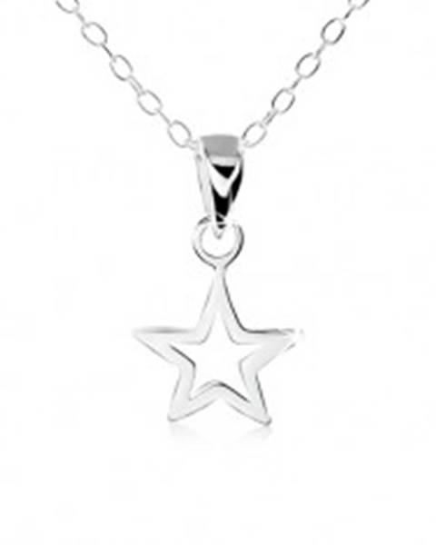 Šperky eshop Strieborný náhrdelník 925, obrys plochej päťcípej hviezdičky