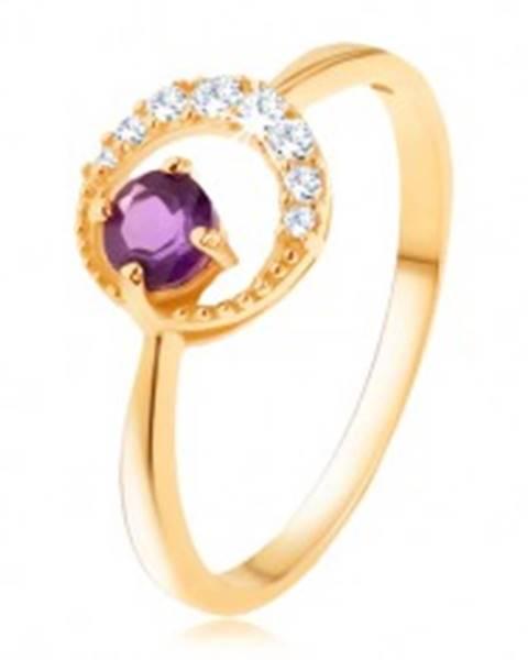 Šperky eshop Zlatý prsteň 585 - tenký zirkónový polmesiac, ametyst vo fialovom odtieni - Veľkosť: 49 mm
