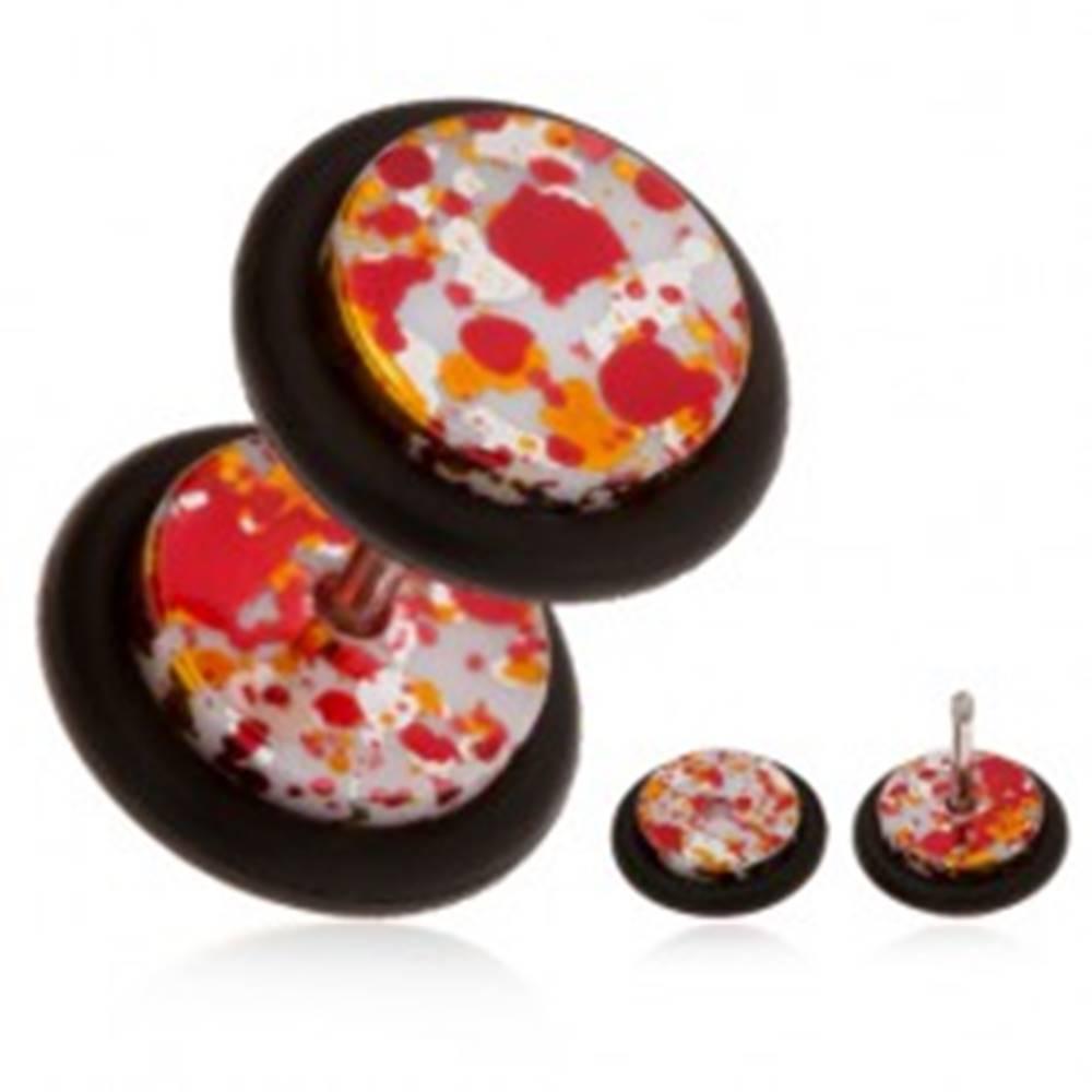 Šperky eshop Akrylový fake piercing do ucha, farebné fľaky na povrchu, gumičky