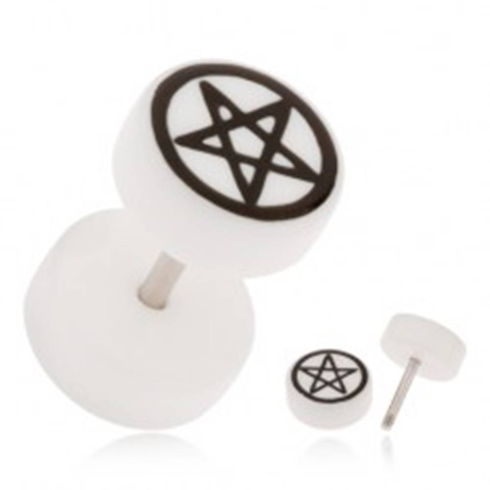 Šperky eshop Akrylový fake plug do ucha, biela farba, pentagram