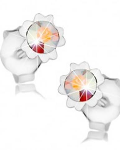 Náušnice, striebro 925, dúhový Swarovského krištáľ, kvet, dvojice lupeňov