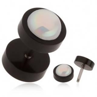 Akrylový fake plug do ucha čiernej farby, biela gulička s dúhovým odleskom