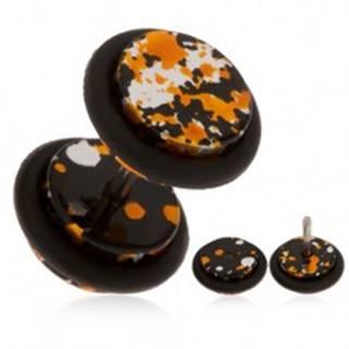 Akrylový falošný plug do ucha - fľaky čiernej, oranžovej a striebornej farby