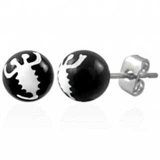 Čierne náušnice z ocele - biely škorpión