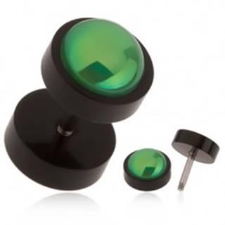 Čierny falošný plug do ucha z akrylu, zelená gulička s dúhovým odleskom
