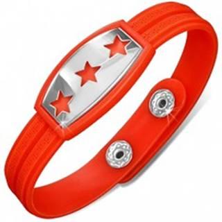 Gumený náramok červenooranžový, známka s hviezdami