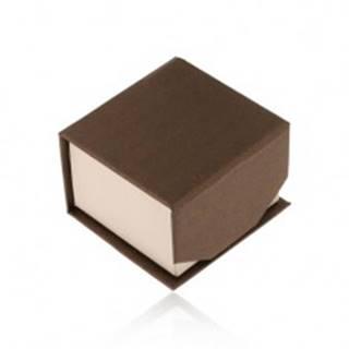Hnedo-béžová krabička na prsteň alebo náušnice, ligotavý povrch, magnet