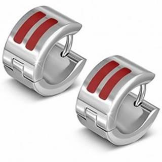 Lesklé kruhové náušnice z ocele s dvomi červenými pásmi