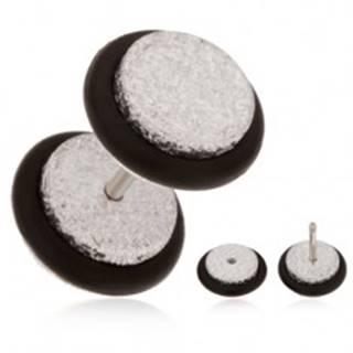 Ligotavý fake plug do ucha z akrylu, strieborný odtieň, čierne gumičky