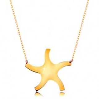 Náhrdelník v žltom 9K zlate - lesklé hladké slniečko, tenká ligotavá retiazka