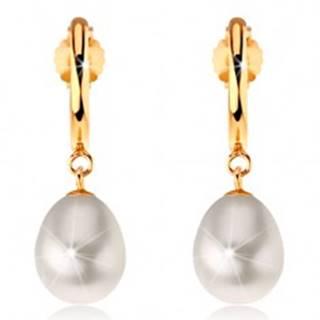 Náušnice v žltom 14K zlate - úzky lesklý oblúk, biela perlová kvapka